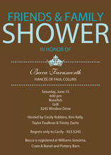 Princess Bridal Shower Blue Invitations