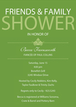 Princess Bridal Shower Green Invitations