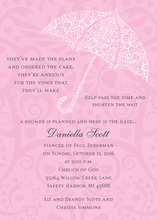 Filigree Umbrella Pink Invitations