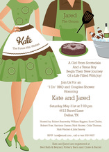 Barbecue Shower Couple Green Invitations