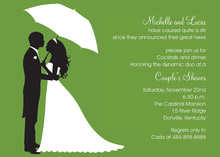 Couple's Silhouette Olive-Green Invitations