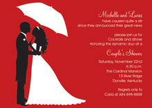Couple's Silhouette Red-Berry Invitations