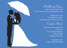 Couple's Silhouette Blue-Danube Invitations