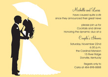 Couple's Silhouette Yellow-Tan Invitations