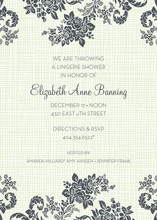 Rose Linen Green Shower Invitations