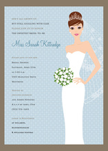Blushing Bride Blue Brunette Invitations