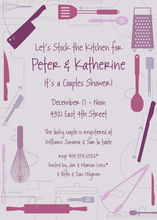 Kitchen Utensils Retro Purple Invitations