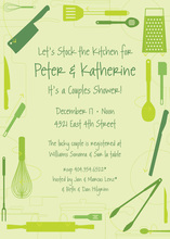 Kitchen Utensils Retro Green Invitations