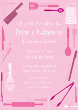 Kitchen Utensils Retro Pink Invitations