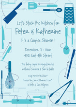 Kitchen Utensils Retro Blue Invitations