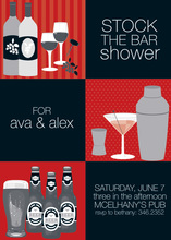 3 Stock The Bar Red Invitations