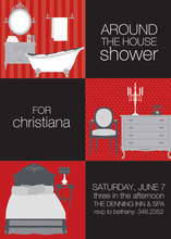 3 Squares House Red Invitations