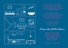 House Layout Midnight Blue Invitations