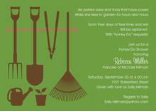 Garden Shower Tools Green Invitations