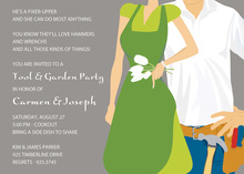 Garden Tools Couple Green Invitations