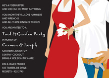 Garden Tools Couple Red Invitations