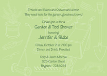 Green Outlined Garden Tools Invitation