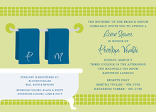 Linen Shower Lime Bathroom Invitations