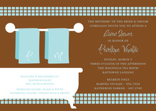 Linen Shower Chocolate Blue Bathroom Invitations
