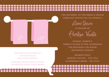 Linen Shower Chocolate Pink Bathroom Invitations