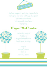 Pretty Modern Blue Topiaries Invitation