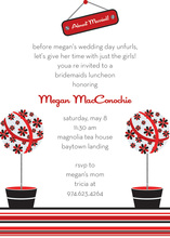 Trendy Red Holiday Topiaries Invitation