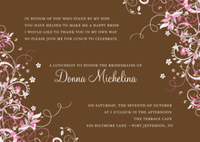 Floral Corners Chocolate Pink Invitations