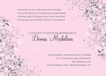 Floral Corners Pink Bridal Invitations