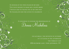 Floral Corners Green Bridal Invitations