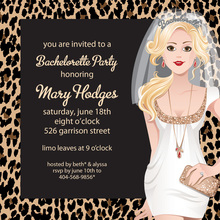 Blonde Bachelorette Leopard Invitations