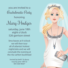 Bachelorette Blonde Silver Invitation