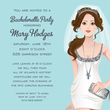 Bachelorette Brunette Silver Shower Invitations