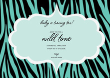 Turquoise Dream Black Zebra Invitation