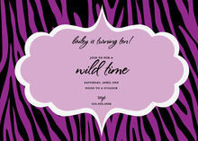 Dream Of Purple Black Zebra Invitation