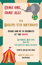 Elephant Rolling Circus Invitation