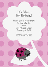 Cute Pink Ladybug On Leaf Invitation