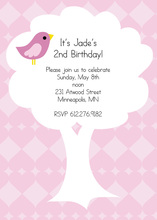 Bird On Tree In Pink Diamond Invitation