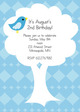 Bird On Tree In Blue Diamond Invitation