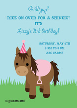Cute Pink Birthday Pony Invitations