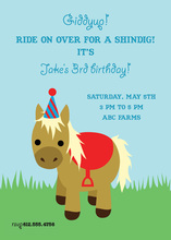 Cute Red Birthday Pony Invitations