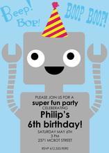 Robot Birthday Wearing Hat Invitations