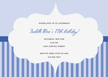 Blue Stripes Frame Cloud Invitation