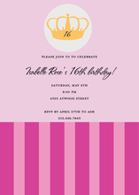 Lovely Pink Crown Stripes Invitation