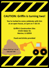 Birthday Construction Crew Party Invitations