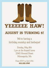 Cowboy Boots Blue Frame Invitation