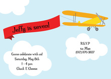 Airplane Pulling Birthday Banner Invitation