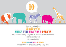 Fun Wild Silhouette Animals Birthday Party Invites