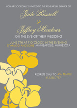 Abstract Yellow Floral Grey Wedding Shower Invitations