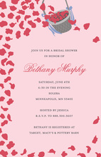 Petal Basket Shower In Pink Wedding Shower Invitations