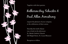 Trendy Pink Floral String In Black Invitations